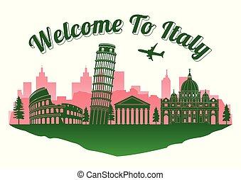 stil, text, silhuett, gränsmärke, ö, resa, italien, välkommen, berömd, topp, turism
