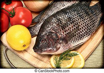 stil, tilapia, årgång, fish, två, rå, bitande planka, ...