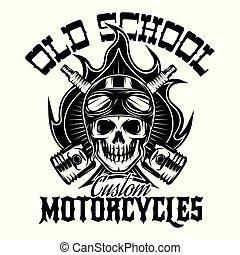 stil, totenschädel, feuer, weinlese, thema, motorrad, hintergrundmuster, monochrom