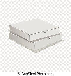 stil, två, realistisk, rutor, ikon, pizza