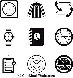 stil, uhr, satz, einfache , art, ikone
