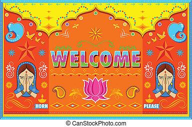 stil, välkommen, måla, indisk, lastbil, bakgrund