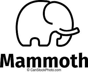 stil, vektor, mammut, minimalistic, poppig, logo, linie