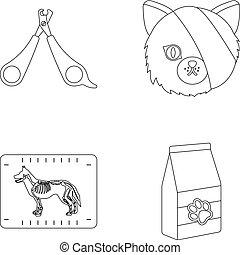 stil, .vet, sätta, skissera, ikonen, katt, symbol, web., bandage, kollektion, klinik, vektor, illustration, sax, såradt, block