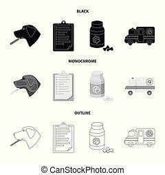 stil, veterinär, block, ikonen, klinik, symbol, svart, web., monokrom, illustration, skissera, sätta, sjukhus, vektor, kollektion, termometer, .vet, hund