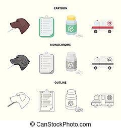 stil, veterinär, block, ikonen, klinik, symbol, tecknad film, web., illustration, sätta, sjukhus, vektor, kollektion, termometer, .vet, hund, monokrom, skissera