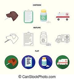 stil, veterinär, block, ikonen, klinik, symbol, tecknad film, web., illustration, sätta, sjukhus, vektor, kollektion, termometer, .vet, hund, skissera, lägenhet