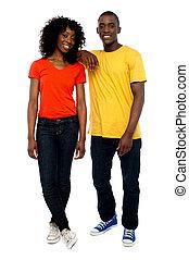 stil, zwei, posierend, attraktive, afrikanisch, friends