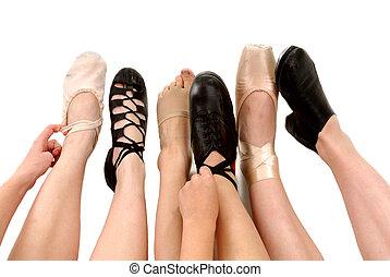 stilar, dans, skor, fötter