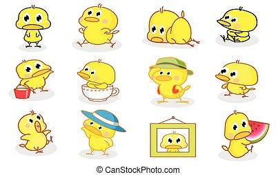 stilarter, chicks, adskillige, cartoon