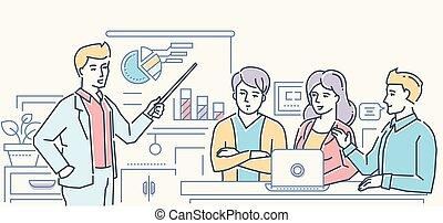 stile, affari, colorito, -, illustrazione, disegno, briefing, linea