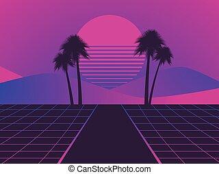 stile, alberi., neon, illustrazione, fondo., paesaggio, vettore, palma, retro, tramonto, 80s., synthwave, futuristico, retrowave.