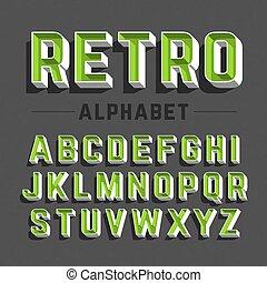 stile, alfabeto, retro