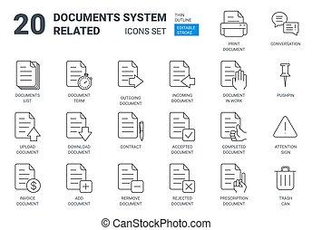 stile, amministrazione, contorno, icone, sistema, set, documenti