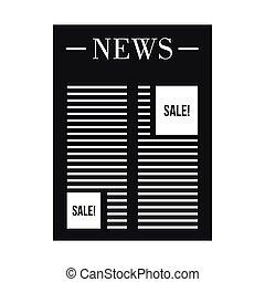 stile, annuncio, spazio, semplice, giornale, icona