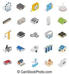 stile, architectonics, set, isometrico, icone