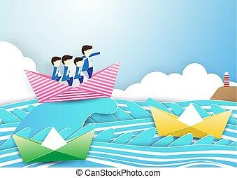 stile, arte, affari, concept., lavoro, carta, mestiere, sea., onde, uomo affari, caposquadra, barca