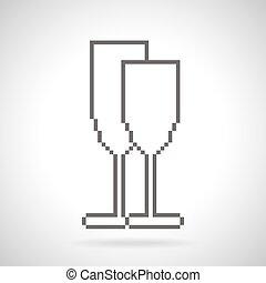 stile, arte, due, icona, pixel, occhiali
