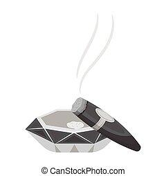 stile, ashtray., simbolo, sigaro, web., illustrazione, sigari, singolo, vettore, fumo, monocromatico, icona, casato
