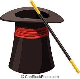 stile, bacchetta magica, icona, cappello, cartone animato