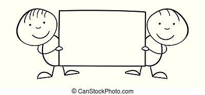 stile, bambini, cartellone, loro, illustrazione, cartone animato, fondo., vettore, linea bianca, hands.