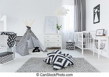 stile, bambino, stanza, scandinavo