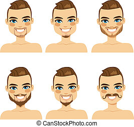 stile, barba, attraente, uomo