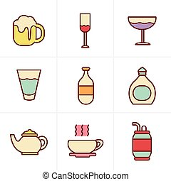 stile, bevanda, icone