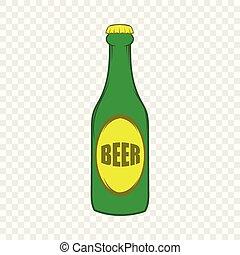 stile, birra, verde, bottiglia, icona, cartone animato
