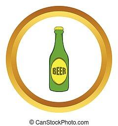 stile, birra, vettore, verde, bottiglia, icona, cartone animato