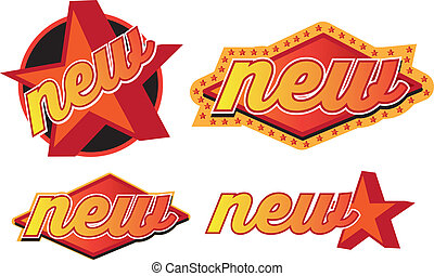 stile, bottone, o, retro, disegnato, nuovo, simbolo, adesivo