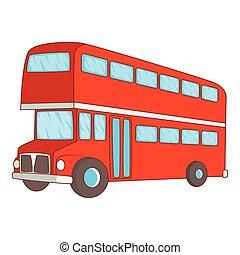 stile, bus decker duplice, icona, cartone animato