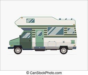 stile, campeggio, viaggiatore, icona, famiglia, autocarro roulotte, appartamento