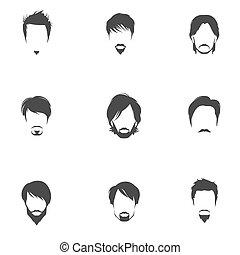 stile capelli, set, uomo