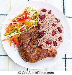 stile, caraibico, sobbalzo, -, pollo, riso