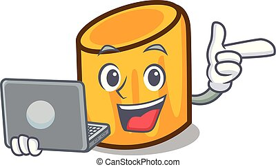 stile, carattere, laptop, cartone animato, rigatoni