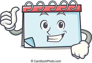 stile, carattere, su, pollici, calendario, cartone animato