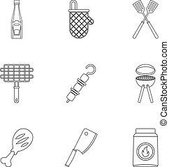 stile, carne, icone, set, frittura, contorno
