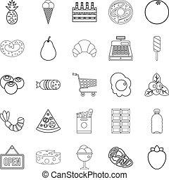 stile, carne, icone, set, sezione, contorno
