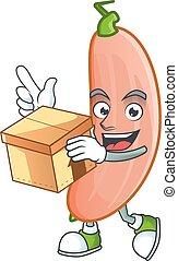 stile, cartone animato, carino, presa a terra, schiacciare, scatola, carattere, banana