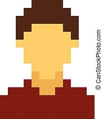 stile, cartone animato, gioco, retro, maschio, pixel, avatar