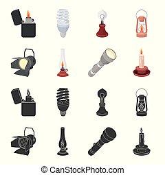 stile, casato, icone, cherosene, fonte, simbolo, riflettore, web., candela, nero, illustrazione, lampada, set, vettore, collezione, luce, cartone animato, flashlight.