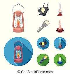 stile, casato, icone, simbolo, cherosene, fonte, cartone animato, riflettore, web., candela, illustrazione, lampada, set, vettore, collezione, luce, appartamento, flashlight.