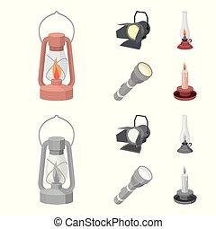 stile, casato, icone, simbolo, cherosene, fonte, cartone animato, riflettore, web., candela, illustrazione, lampada, set, vettore, collezione, luce, flashlight., monocromatico