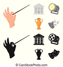 stile, casato, icone, teatro, costruzione, simbolo, riflettore, cartone animato, conduttore, web., nero, illustrazione, amphora., teatro, set, vettore, collezione, bacchetta