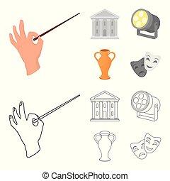 stile, casato, icone, teatro, costruzione, simbolo, riflettore, cartone animato, conduttore, web., illustrazione, contorno, amphora., set, teatro, vettore, collezione, bacchetta