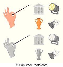 stile, casato, icone, teatro, costruzione, simbolo, riflettore, cartone animato, conduttore, web., illustrazione, amphora., teatro, set, vettore, collezione, monocromatico, bacchetta