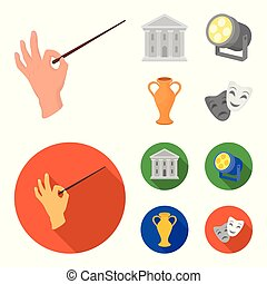 stile, casato, icone, teatro, costruzione, simbolo, riflettore, cartone animato, conduttore, web., illustrazione, amphora., teatro, set, vettore, collezione, appartamento, bacchetta