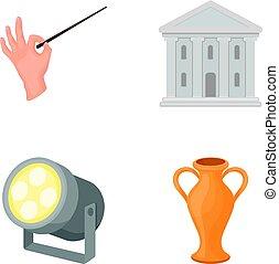 stile, casato, icone, teatro, costruzione, simbolo, riflettore, conduttore, web., illustrazione, amphora., teatro, set, vettore, collezione, s, cartone animato, bacchetta