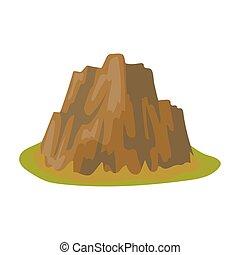 stile, casato, montagna, simbolo, montagne, differente, erba, spikes., alto, singolo, icona, affilato, vettore, ripido, scuro, cartone animato, colori, illustration.